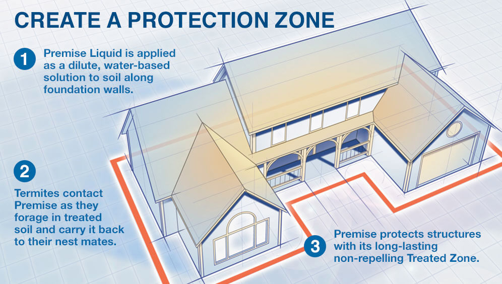 Illustration of Termite Protection Zone Around a Home